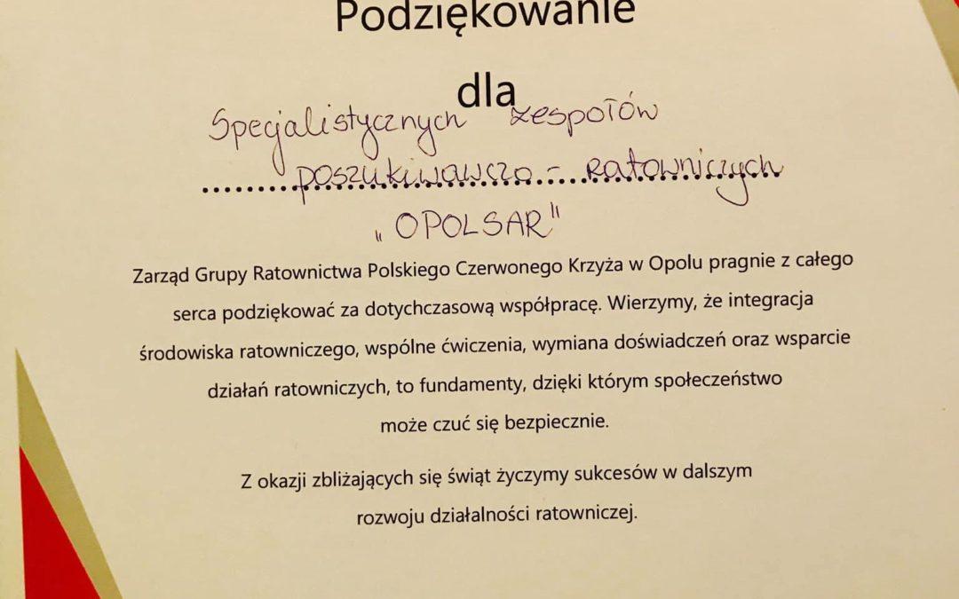 Podziękowania od Grupy Ratownictwa PCK Opole