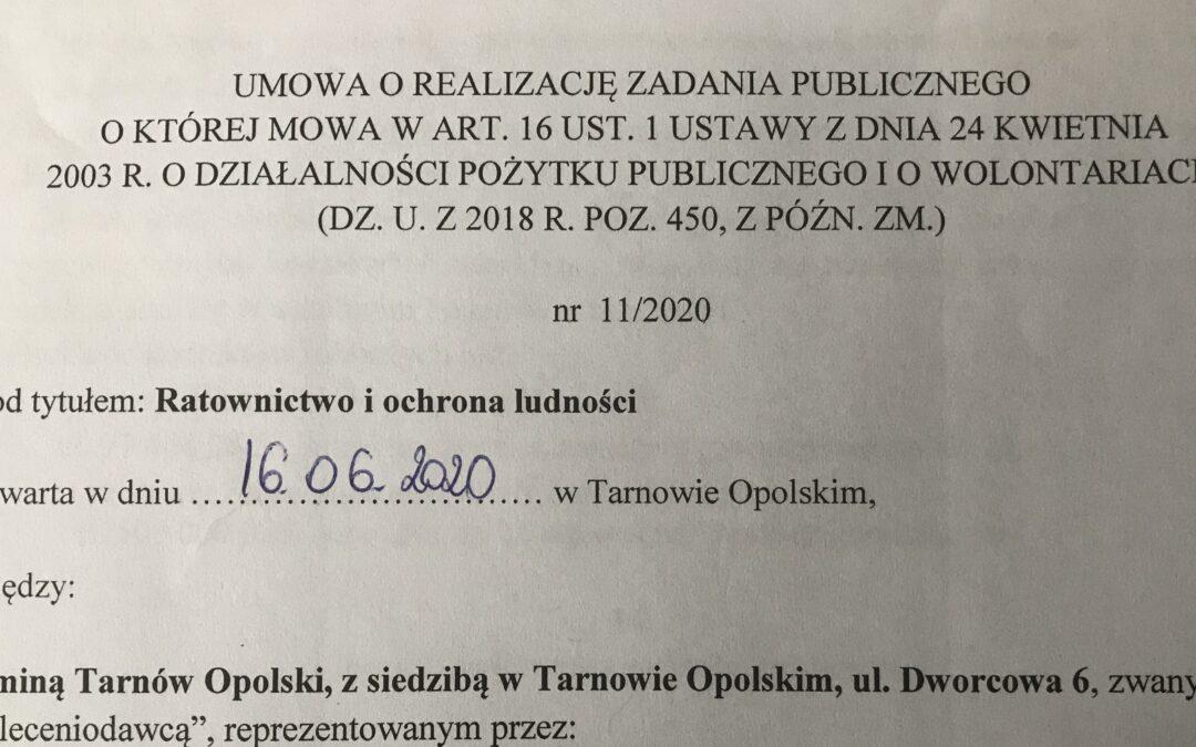 Umowa z Gminą Tarnów Opolski na realizację zadania publicznego z zakresu ratownictwa i ochrony ludności.